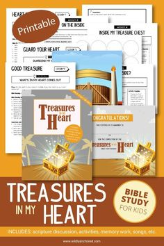 Treasures In My Heart Bible Study for Kids (Printable)   Wildly Anchored // Faith, Family, Homeschool Bible Study Guide, Bible Study For Kids, Bible Lessons For Kids, Kids Bible, Study Guides, Praise And Worship Songs, Bible Resources, Christian Kids, Kids Church