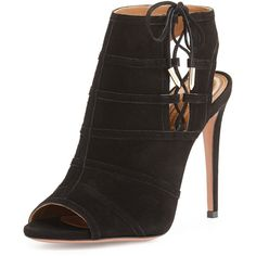 Aquazzura Oui Baby Suede/Mesh Lace-Up Bootie ($840) ❤ liked on Polyvore featuring shoes, boots, ankle booties, heels, black, high heel boots, black heel booties, black suede booties, black lace-up boots and black booties