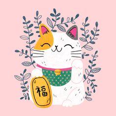 Lucky Cats on Behance Maneki Neko, Neko Cat, Kitty Cats, Gato Anime, Kawaii Tattoo, Cat Drawing, Art Design, Simple Art, Crazy Cats