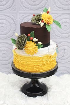 Rustic Ganache And Ruffled 90Th Birthday Cake With Sugar Succulents And Pom Pom Daisies.