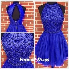 #prom #promdress Pretty Blue Mini Tulle Prom Dress,Homecoming Dress With Beadings