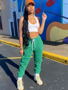 """""""dressed to chill 🧡💚"""" Lazy Outfits, Dope Outfits, Spring Outfits, Casual Outfits, Fashion Outfits, Fashion Tips, School Outfits, Green Outfits, Teenager Outfits"""