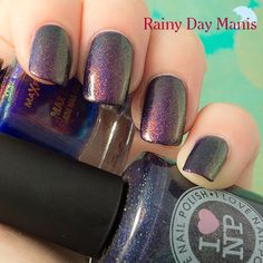 Max Factor: Fantasy Fire over I Love Nail Polish Cosmic Barney (purple holo)