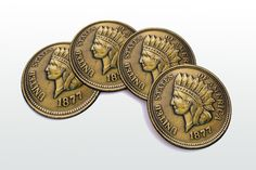 1877 Indian Cent Magnetic round Coasters Including by elcomdesign