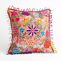 Peruvian Floral Pillow - Striped | National Geographic Store