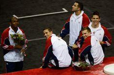 The US Gymnastics men's team of (from left) John Orozco, Jacob Dalton, Danell Leyva, Jonathan Horton and Chris Brooks