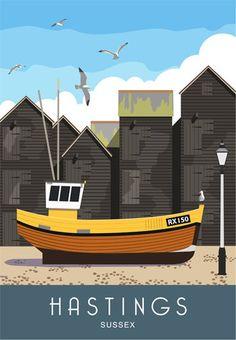 Digital Artwork of Hastings Fishing Huts in East Sussex. Hastings Beach, Hastings Map, Fish Hut, Sea Life Centre, Fishing Lures, Fishing Box, Fishing Knots, Ice Fishing, Railway Posters