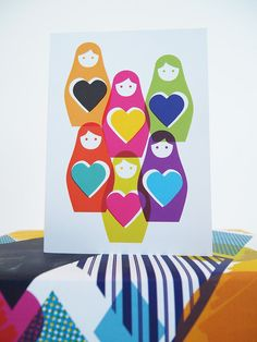 Card Rainbow Russian Dolls Illustration Blank by SamOsborneStore, £2.50