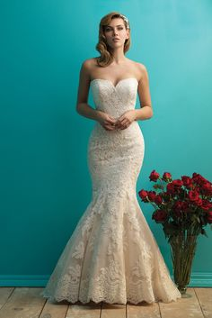 Allure Bridals 9250 Strapless Lace Fit and Flare Wedding Dress - Crazy Sale Bridal Dresses Fit And Flare Wedding Dress, Sweetheart Wedding Dress, Lace Mermaid Wedding Dress, Wedding Dresses For Sale, Wedding Dress Sizes, Bridal Wedding Dresses, Designer Wedding Dresses, Bridesmaid Dresses, Mermaid Gown