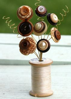 Vintage Button Spool Bouquet Shades of brown by MyFancifulNotions, $13.00