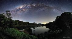 This is an UNIQUE image of the Orion Arm of the Milky Way galaxy. The photographer reported that he waited for the photo for two years to get the perfect light conditions. Just right above the lake there are stars 100 light years far from us in our stellar neighbourhood and above them is the centre of our galaxy, where the stars are more than thousands light years away.    Photo credit: Luc Perrot, Astrophotographer (taken on French island of Réunion)