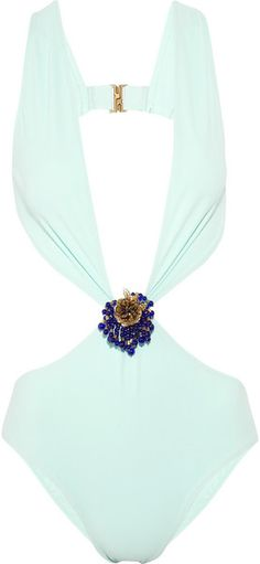 Gucci Embellished Plungefront Swimsuit in Blue (turquoise)