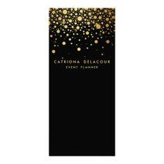 Gold Foil Confetti Business Rack Card   Black