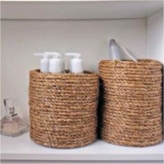 Coffee cans with rope.....want to make for my bathroom