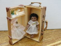 Doll House Miniature Porcelain AA  Baby Doll in Case w Outfit  -  Artist Piece