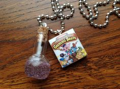 Gummi Bears Disney Scrabble Tile Necklace With Glass Bottle Of Gummiberry Juice by shellybelly4evr on Etsy