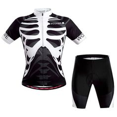 Breathable Summer Sportswear Jerseys+Shorts Skeleton Pattern Cycling Sets For Outdoor Sport