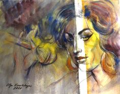 Olga Vinnitskaya. Amy Winehouse. Edelfarbpalette + Kontrast,  Aquarell auf Papier.