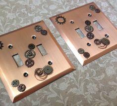 Steampunk light switch cover by KaoticKreeations on Etsy, $15.00