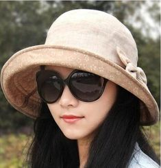 Bow bucket hat for women lining flower crimping sun hats