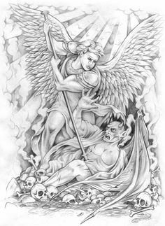 Archangel Michael Tattoo, St Michael Tattoo, Cover Up Tattoos, Body Art Tattoos, Sleeve Tattoos, Angel Tattoo Designs, Tattoo Designs Men, Chest Tattoo Wings, Drawing Sketches