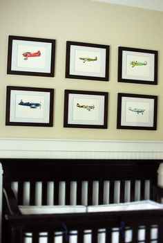For Brayden's room... Collection of Six 8x10 vintage Airplane prints of your choice. $120.00, via Etsy.