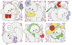 Kitty Blocks Set, 12 Designs - 4x4 | What's New | Machine Embroidery Designs | SWAKembroidery.com