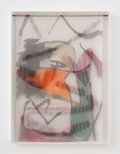 "Strauss Bourque-LaFrance, ""Ivory Boy,"" 2014, plexiglas, plastic mesh and spray enamel, 40 x 30 x 2.25 inches. (as seen at Rachel Uffner on Oct. 19, 2014)"