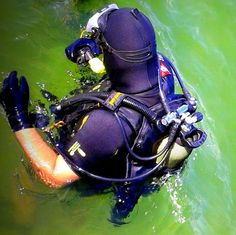 In the cooler diving suit