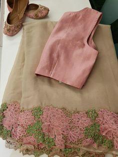 Whatsapp on 9496803123 to customise handwork and cutwork sarees, wedding sarees, bridal wear gowns, lehengas etc. Cotton Saree Blouse Designs, Half Saree Designs, Saree Blouse Patterns, Kurti Neck Designs, Cutwork Blouse Designs, Cutwork Saree, Embroidery Saree, Chiffon Saree Party Wear, Party Wear Sarees