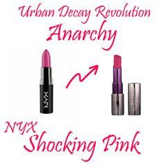 Urban Decay Revolution Lipstick Anarchy Dupe NYX Matte Shocking Pink