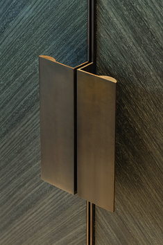 Joseph Giles 'moon' edge pulls in antique bronze finish... like the grain direction - top bookmatch idea: