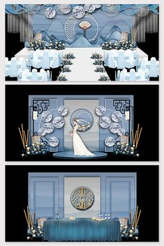 Chinese style blue wedding stage renderings#pikbest#decors-models Wedding Stage Design, Wedding Stage Decorations, Wedding Designs, Chinese Wedding Decor, Wedding Planer, European Wedding, Entrance Design, Wedding Background, 3d Models