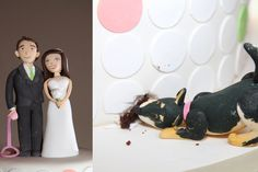 Fun, modern wedding cake- white fondant with pastel pink and green dots, bride and groom cake topper