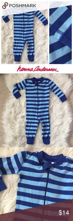 Hanna Andersson Pajamas Adorable used Hanna Andersson striped pajamas in size 75. These are in used condition (see photos for examples of staining) hence price — but so cute! Bundle to save even more — I have tons of kids clothes and my closet's meant to be bundled! Hope you enjoy ♥️ Hanna Andersson Pajamas