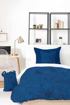 Camilla Foss Circles In Blue I Bed In A Bag   DENY Designs Home Accessories