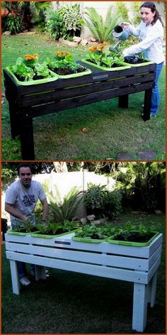 Loving plants is a good thing, if you have love for plants, then it's time to . Pallet Furniture, Furniture Making, Cool Furniture, Diy Pallet Projects, Garden Projects, Pallet Ideas, Made Coffee Table, Wooden Pallets, Pallet Wood