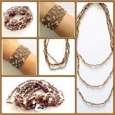 """Pulsera / collar con cuentas de cristal checo  Las encuentras también en Facebook en: """"Tessie's Joyeria"""""""
