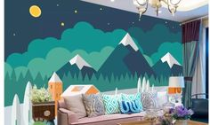 wandgestaltung berge Hand Painted Geometric Green Mountains Wallpaper Wall Mural, Simple Modern Triangle Geometric Mountains at night Nursery Wall Mural Mountains At Night, Wallpaper Wall, Living Room Decor, Bedroom Decor, Nursery Wall Murals, Geometric Mountain, Mawa Design, Mountain Wallpaper, Cleaning Walls
