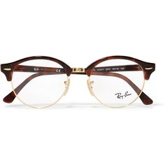 Ray-Ban Round-frame acetate and gold-tone optical glasses ($94) ❤ liked on Polyvore featuring accessories, eyewear, eyeglasses, glasses, sunglasses, brillen, tortoiseshell, ray-ban eye glasses, round tortoise glasses and round tortoise eyeglasses