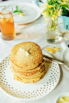 Gluten-Free Pancakes with Honeysuckle Infused Butter & Maple Syrup  // www.WithTheGrains.com
