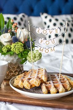 Nothing quite says ' I Love You Mum' like a DIY Garland and some homemade waffles! The perfect breakfast in bed!