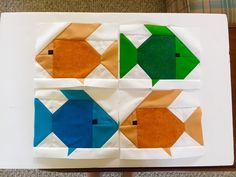Kissy Fishy Quilt Pattern by Sew Fresh Quilts You may remember me sharing these four cute fish . Paper Piecing Patterns, Quilt Block Patterns, Quilt Blocks, Barn Quilt Designs, Quilting Designs, Beach Themed Quilts, Fish Quilt Pattern, Motifs D'appliques, Bird Quilt