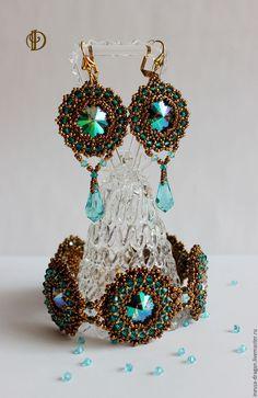 """Купить Комплект из браслета и серёг с кристаллами Swarovski """"Бирюза и бронза"""" - браслет с кристаллами, кристаллы сваровски"""