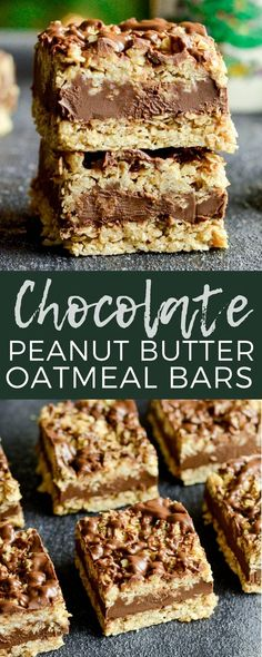 No-Bake Chocolate Peanut Butter Oat Bars! This delicious cookie recipe comes together in 10 minutes & is gluten-free & vegan-friendly! #nobake #chocolate #peanutbutter #oatmeal #cookies #bars #vegan #glutenfree #christmascookies #dessert