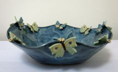 Stunning Butterfly Bowl Handcrafted Stoneware by LisaDPottery - SOLD at the Braselton Gallery in Braselton GA.