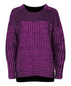 Another great find on #zulily! Aubergine & Rose Jacquard Hi-Low Sweater by Dex #zulilyfinds