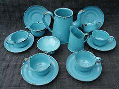OLD VINTAGE 1920s-1930s PORCELAIN ENAMEL GRANITE WARE TIN TOY TEA SET | eBay