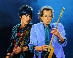 Nieuw in mijn Werk aan de Muur shop: Ronnie Wood and Keith Richards Schilderij