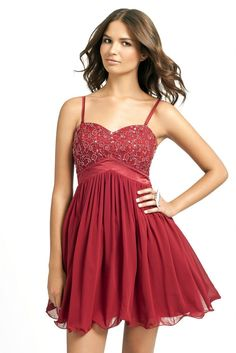 Little Mistress Burgundy Embellished Lace Baby Doll Prom Dress